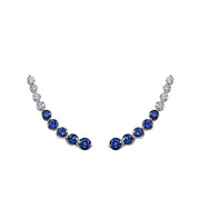 FLOATING DIAMOND AND BLUE SAPPHIRE EARRING