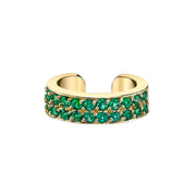 DOUBLE-ROW EMERALD EAR CUFF