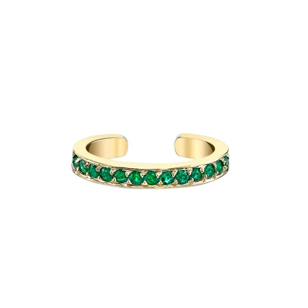 SINGLE ROW EMERALD EAR CUFF