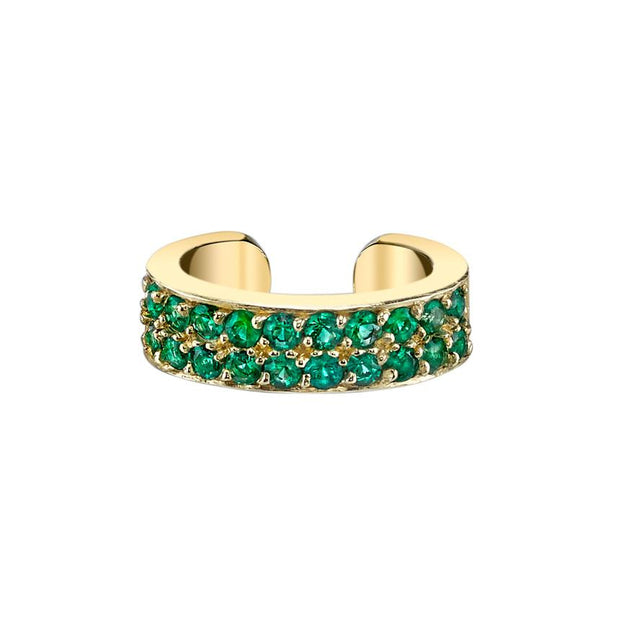 TWO ROW EMERALD EAR CUFF
