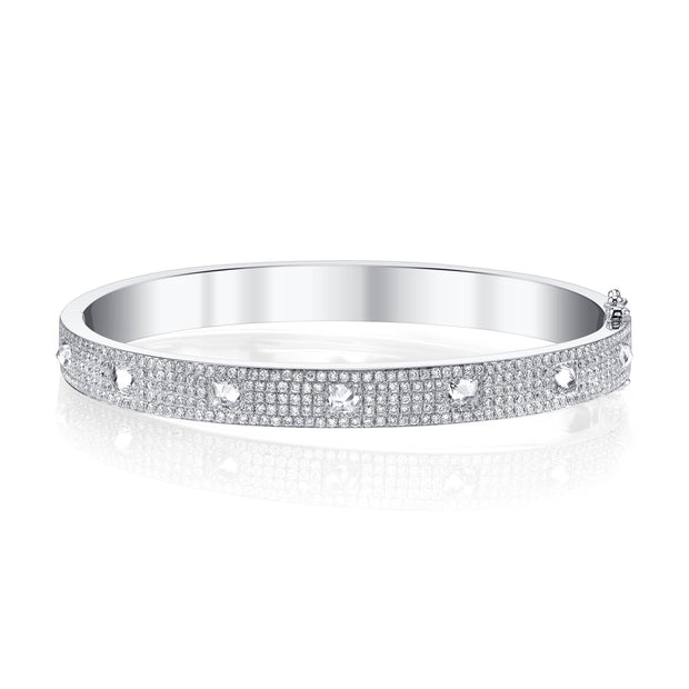 PAVE DIAMOND INVERTED PRINCESS CUT OVAL BRACELET