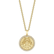 SMALL ZODIAC COIN PENDANT WITH DIAMOND FRAME