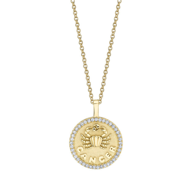CANCER ZODIAC COIN PENDANT WITH DIAMOND FRAME