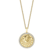 CAPRICORN ZODIAC COIN PENDANT WITH DIAMOND FRAME