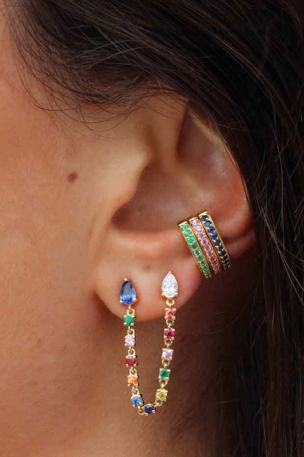 DOUBLE PIERCING DIAMOND AND MULTI-COLORED FINE GEMSTONE LOOP EARRING
