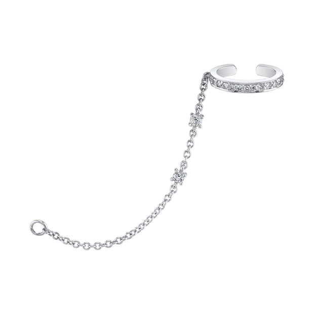 SINGLE ROW DIAMOND EAR CUFF WITH DIAMOND CHAIN