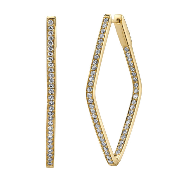 DIAMOND SHAPED PAVE HOOPS