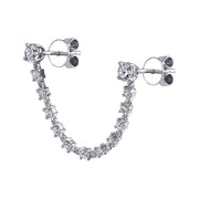 DOUBLE PIERCING DIAMOND LOOP EARRING