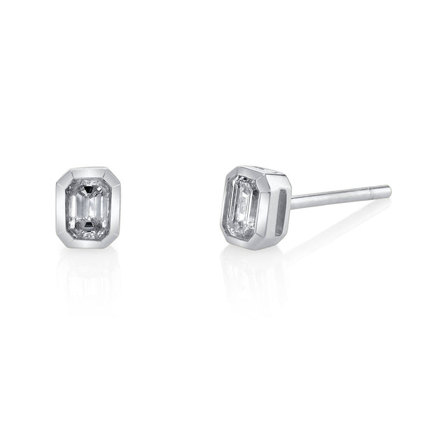 EMERALD CUT DIAMOND STUDS
