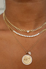 CHAIN LINK NECKLACE WITH ROUND DIAMOND CENTER