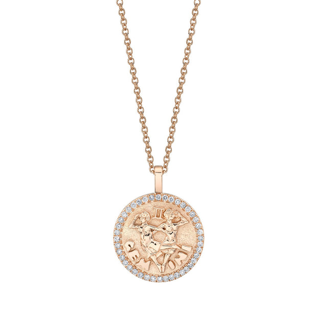 Gemini zodiac coin pendant with diamond frame