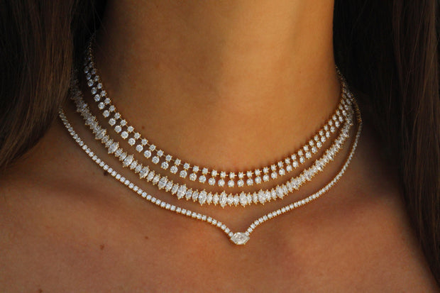 DIAMOND HEPBURN NECKLACE WITH STEP-CUT HEXAGON CENTER