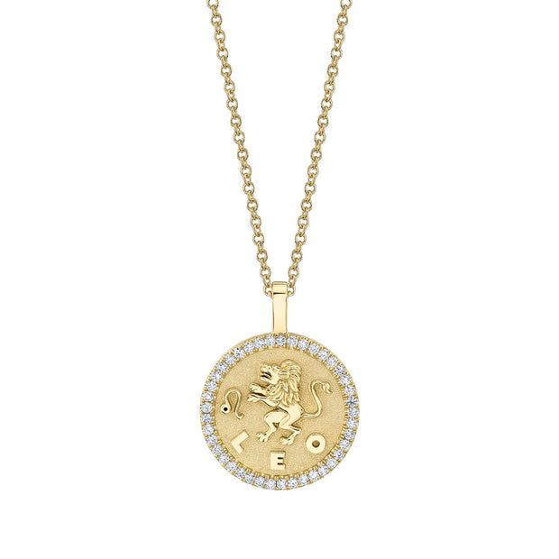 Leo zodiac coin pendant with diamond frame
