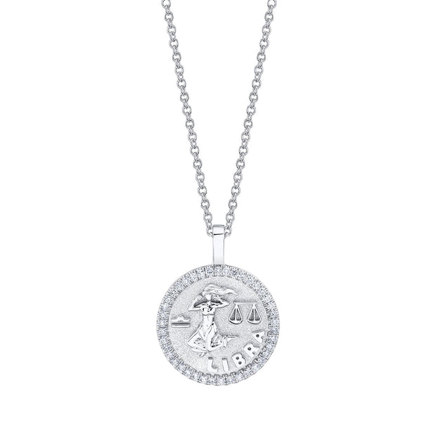 LIBRA ZODIAC COIN PENDANT WITH DIAMOND FRAME
