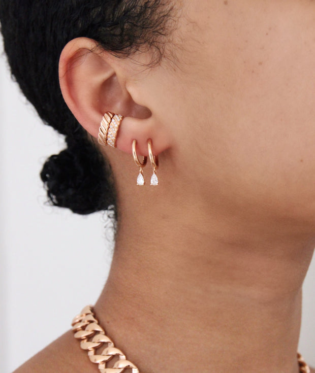 THIN DIAMOND BRAID EAR CUFF