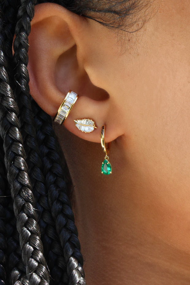 HUGGIE WITH PEAR-SHAPED EMERALD DROP .26