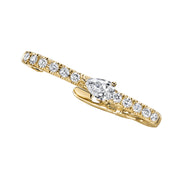 Pave lobe huggie with pear diamond center
