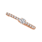 Pave lobe huggie with round diamond center