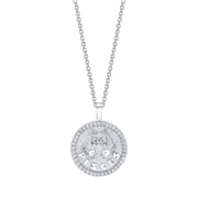 Pisces zodiac coin pendant with diamond frame