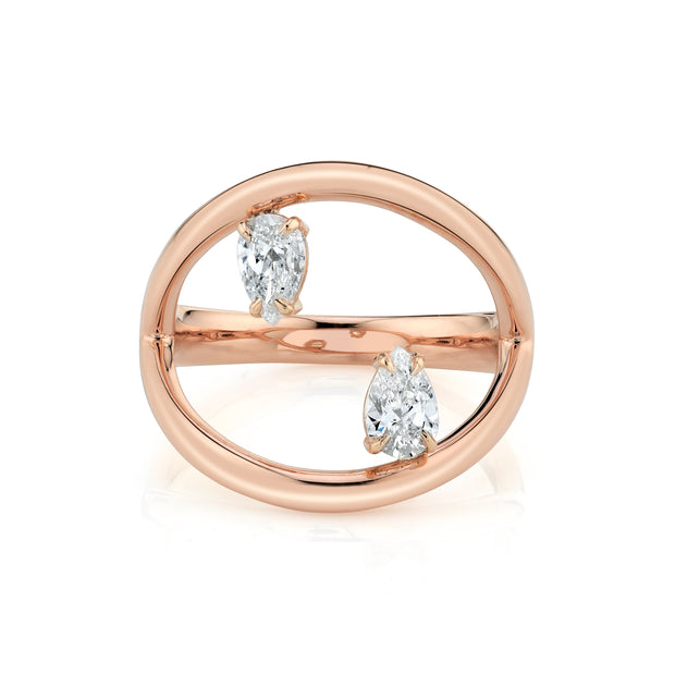 Plain arc ring with two floating pear diamonds