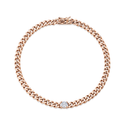 CUBAN LINK BRACELET WITH DIAMOND CENTER