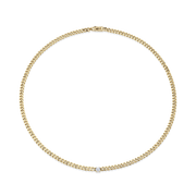 CUBAN LINK NECKLACE WITH DIAMOND CENTER