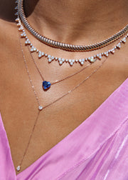 BLUE SAPPHIRE HEART PENDANT WITH BAGUETTE DIAMOND ON CHAIN