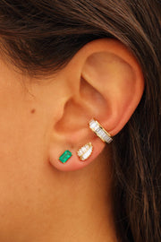 ELONGATED EMERALD CUT EMERALD STUD .28