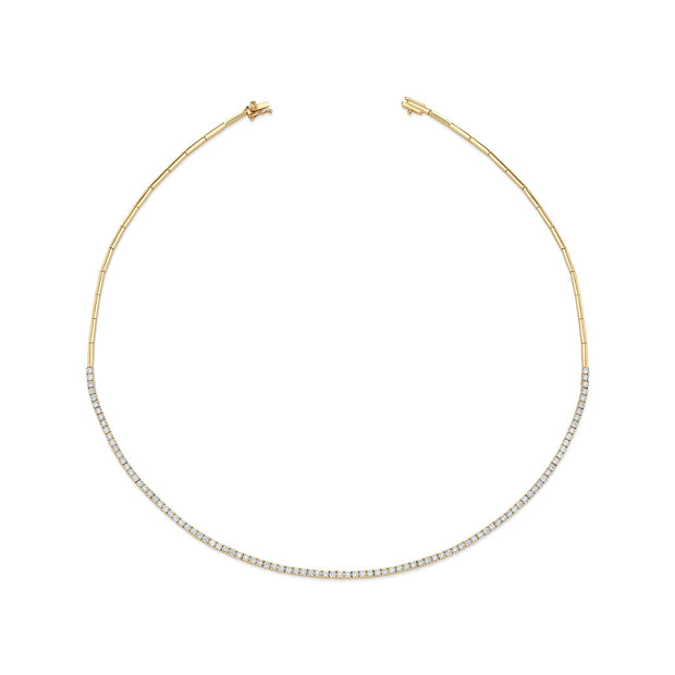 Plain & diamond link choker