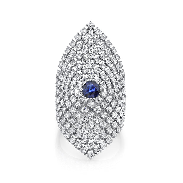 MESH DIAMOND SADDLE RING WITH BLUE SAPPHIRE