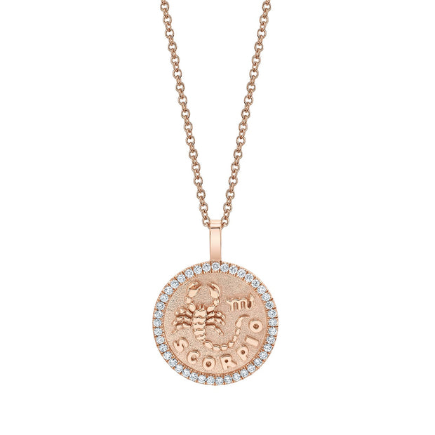 SCORPIO ZODIAC COIN PENDANT WITH DIAMOND FRAME