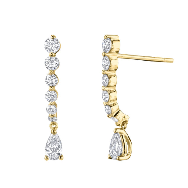 SHORT DIAMOND CASCADE WITH PEAR DIAMOND DROP