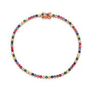 SMALL MULTI-COLORED DIAMOND AND FINE GEMSTONE HEPBURN BRACELET