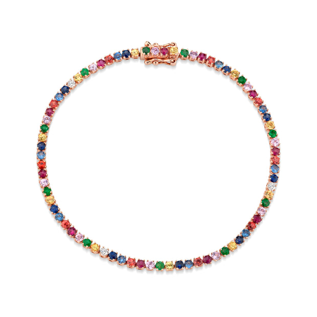 SMALL MULTI-COLORED FINE GEMSTONE AND DIAMOND HEPBURN BRACELET