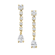 SMALL ROPE DIAMOND EARRINGS WITH PEAR DROPS