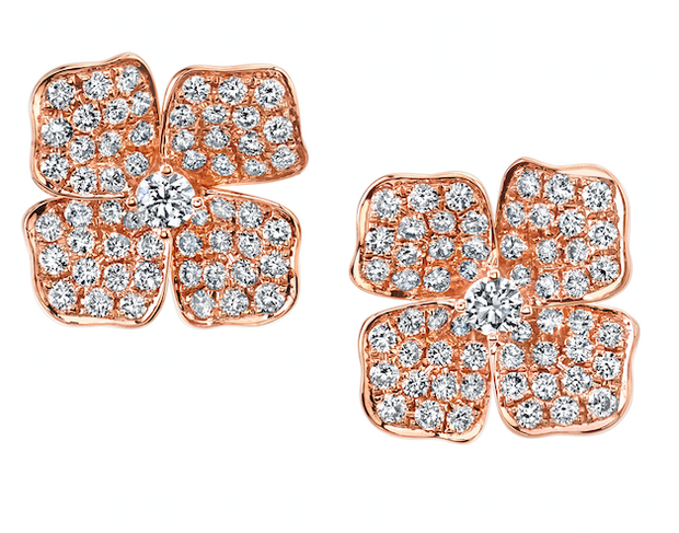 LARGE FLOWER DIAMOND STUDS