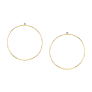 CIRCLE HOOPS WITH DIAMOND STUDS
