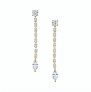SHORT ROPE DIAMOND EARRINGS WITH MARQUIS DIAMOND DROP