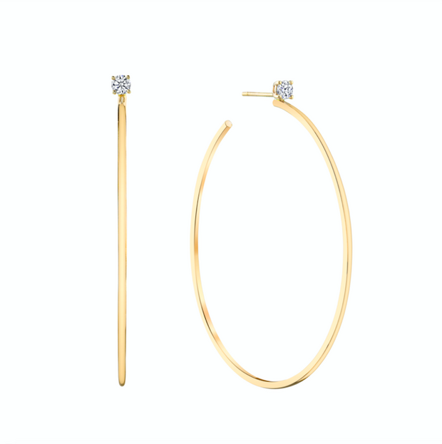 LARGE HOOPS WITH DIAMOND STUDS