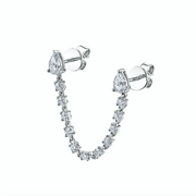 DOUBLE PIERCING PEAR DIAMOND LOOP EARRING