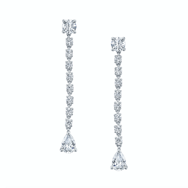 SHORT DIAMOND ROPE EARRINGS WITH PEAR DIAMOND DROPS