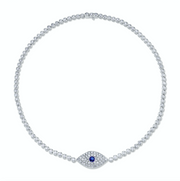 DIAMOND EVIL EYE CHOKER WITH BLUE SAPPHIRE EYE