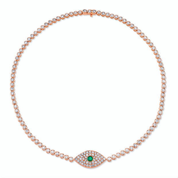 DIAMOND EVIL EYE CHOKER WITH EMERALD EYE