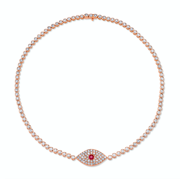 DIAMOND EVIL EYE CHOKER WITH RUBY EYE