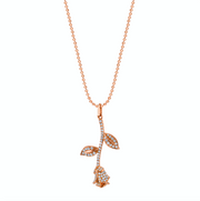 LONG STEM ROSE DIAMOND NECKLACE