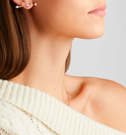 ROSE GOLD TRIANGLE DIAMOND ARROW EARRING