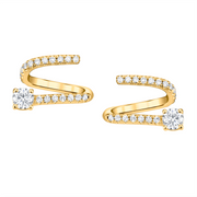 Pave coil earrings with round diamond ends
