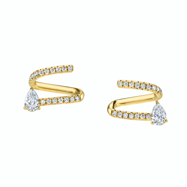 PAVE DIAMOND COIL EARRINGS WITH PEAR DIAMOND ENDS