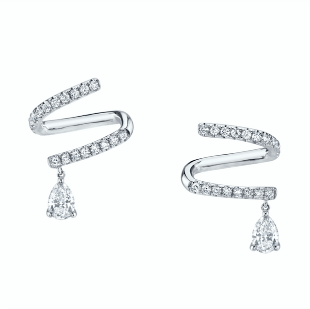 Pave coil earrings with pear diamond drops