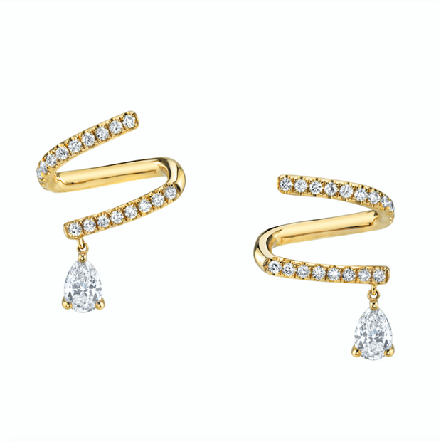 PAVE DIAMOND COIL EARRINGS WITH PEAR DIAMOND DROPS